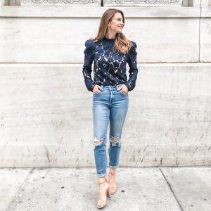 WAYF Erika Puff Sleeve Lace Blouse Size Small